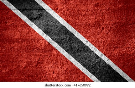 flag of Trinidad and Tobago or Trinidadian banner on rough texture