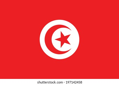 Flag of Tunisia. Accurate dimensions, element proportions and colors.