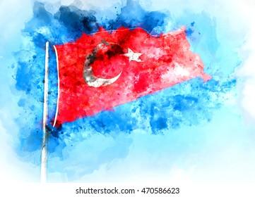 Flag of Turkey. Digital watercolor painting