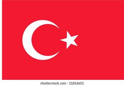 Flag of Turkey, national country symbol illustration