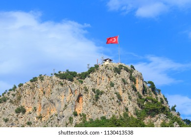 Flag of Turkey on top of a mountain in Kemer, Turkey