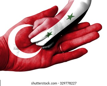 Flag of Turkey overlaid the hand of an adult man holding a baby hand with the flag of Syria overprinted. Conceptual image for help, aid, assistance, rescue. Isolated on white background