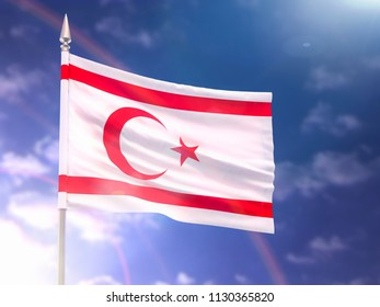Flag of the Turkish Republic of Northern Cyprus with flare and dark blue sky