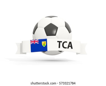 Flag of turks and caicos islands, football with banner and country code isolated on white. 3D illustration