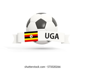 Flag of uganda, football with banner and country code isolated on white. 3D illustration