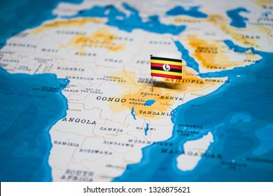 the Flag of uganda in the world map