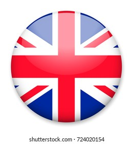 Flag of UK in the form of a round button with a light glare and a shadow. The symbol of Independence Day, a souvenir, a button for switching the language on the site, an icon.