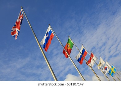 The Flag of UK and Slovak Republic and Portugal and Russia and Indonesia and Korea and Sweden