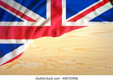 The flag of UK or United Kingdom,British. Flag on wood background.For for several concept ; business,political,financial,currency and symbolizing in any occasional ; National day,sport,travel,holiday