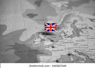 The Flag of UK in the World Map