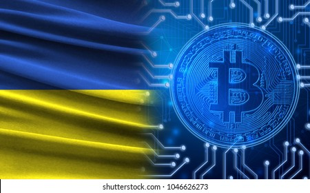 Flag of Ukraine against the background of a cryptogram with a bitcoin