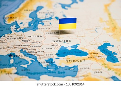 the Flag of ukraine in the world map