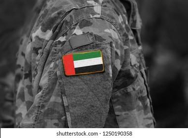 Flag of United Arab Emirates (UAE) on soldiers arm (collage).