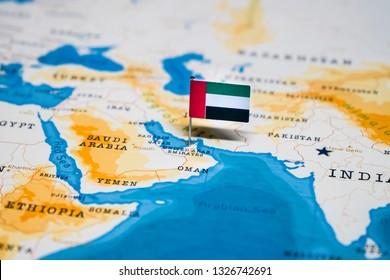 the Flag of united arab emirates, UAE in the world map