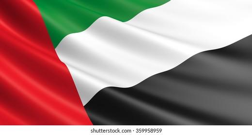 Flag of United Arab Emirates waving in the wind.