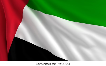 A flag of United Arab Emirates in the wind