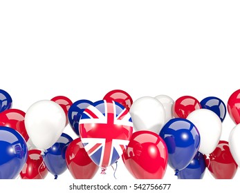 Flag of united kingdom, with balloons isolated on white. 3D illustration