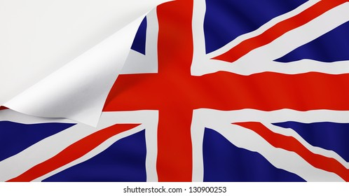 Flag of United Kingdom with a curl at the corner with blank space for text.