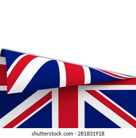 Flag of the United Kingdom geometrically rolled up  geometrically  like a dart