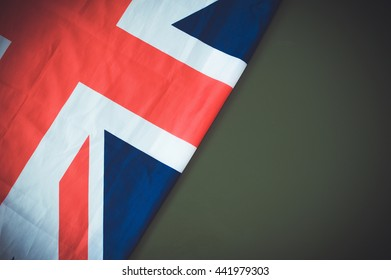 Flag of United Kingdom on green background