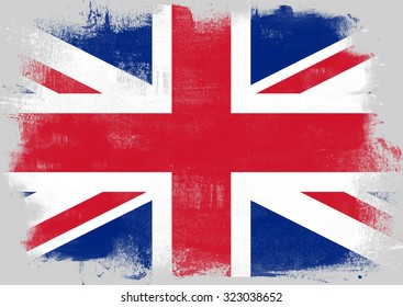 Flag of United Kingdom painted with brush on solid background,