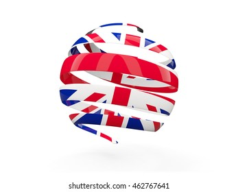 Flag of united kingdom, round icon isolated on white. 3D illustration