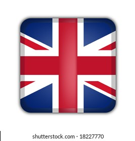 flag of united kingdom, square button on white background