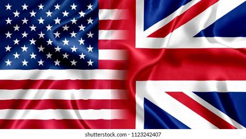 Flag United Kingdom and US silk