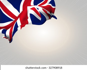 Flag of the United Kingdom waving over corner page with a light spot background