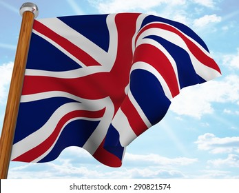 Flag of the United Kingdom waving winning in the blue sky