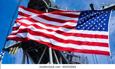 flag of united state on the ship