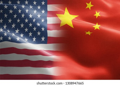 Flag of United States of America against China - indicates partnership, agreement, or trade wall and conflict between these two countries