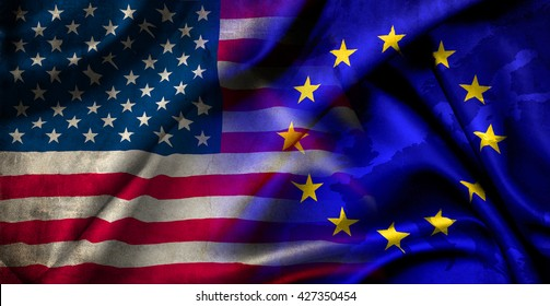 Flag of the United States of America and the European Union