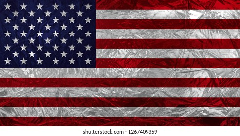 Flag of the United States of America with ice effect