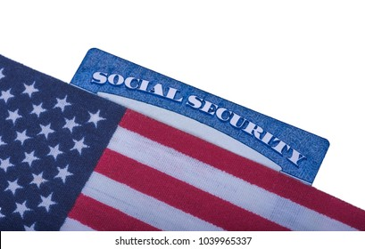 Flag of United states of America on Social security number card (SSN). White Isolated background.