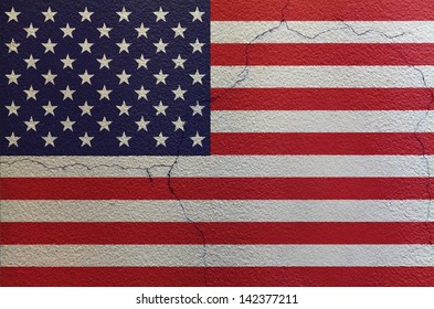 Flag of United States of America on the wall
