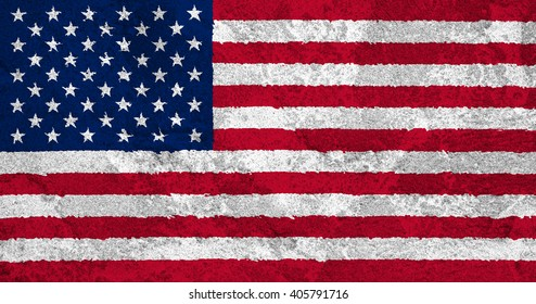Flag of the United States of America on a rough textured wall