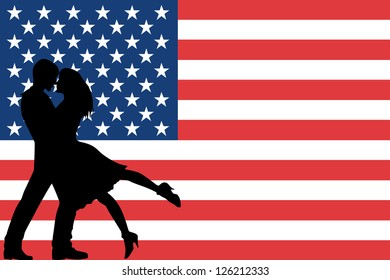 The flag of the United States of America with the silhouettes of romantic lovers