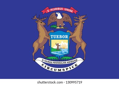 The flag of the United States of America State Michigan
