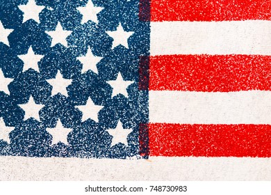 The flag of the United States of America (USA), a close-up image of the patriotic symbol