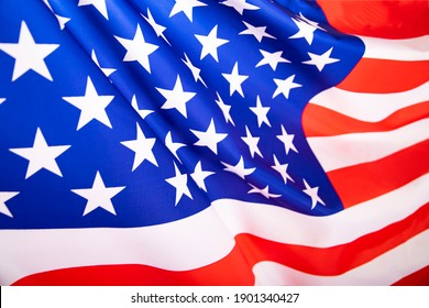 Flag of United States of America waving .