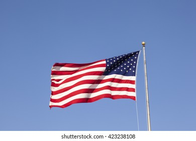 Flag of the United States of America waving in the wind