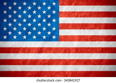 flag of United States or American banner on canvas texture