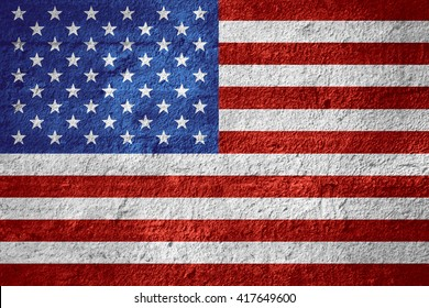 flag of United States or American banner on rough texture
