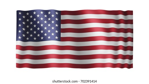 Flag of the United States; conformed to long ratio (2:1); gentle, stylized, non-realistic, unhinged waving; nice textile pattern visible in hi-res