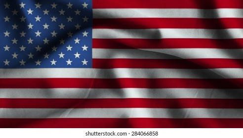 Flag of United States. Flag has a detailed realistic fabric texture.