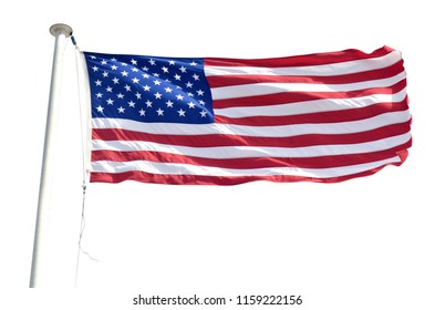 Flag of the United States isolated on a white background. Copy space