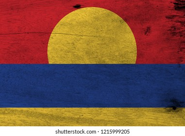Flag of United States Minor Outlying Islands on wooden plate background. Grunge United States Minor Outlying Islands flag texture.