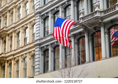 Flag of the United States on a skyscrapper in New York City, USA