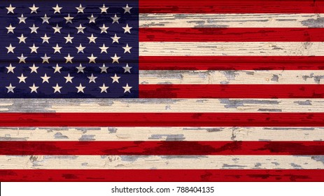 flag of United States on a wooden background.